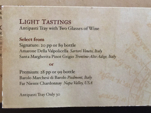 Meridian Light Tastings Menu Options Disney Dream October 2015