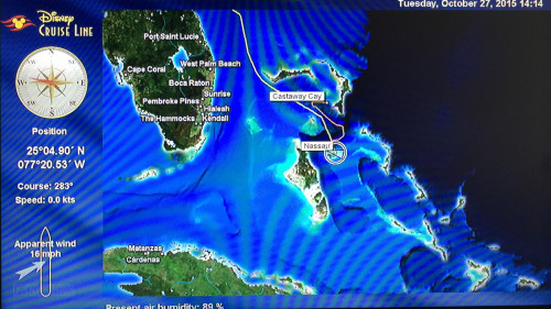 Stateroom TV Map Day 2 Nassau Disney Dream 20151027