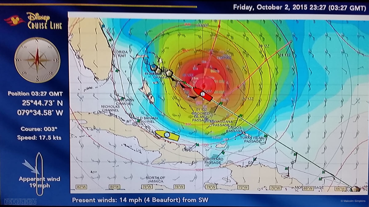 Disney Fantasy October 2 Position Hurricane Joaquin