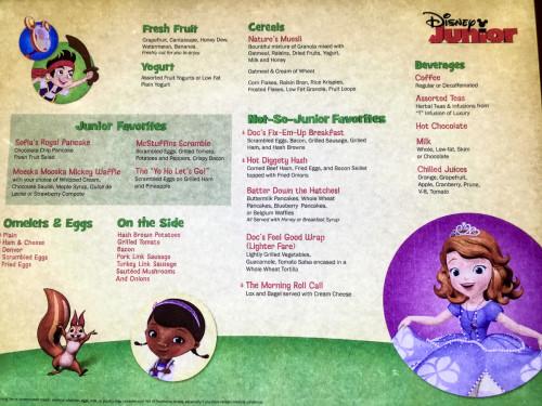 Disney Junior Character Breakfast Menu Fantasy October 2015
