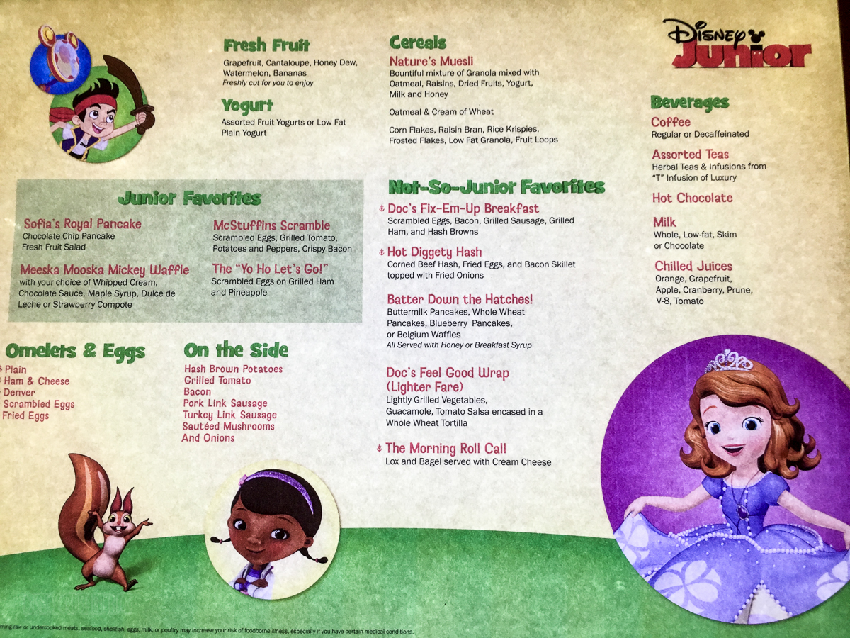 disney junior character breakfast menu • the disney cruise line blog