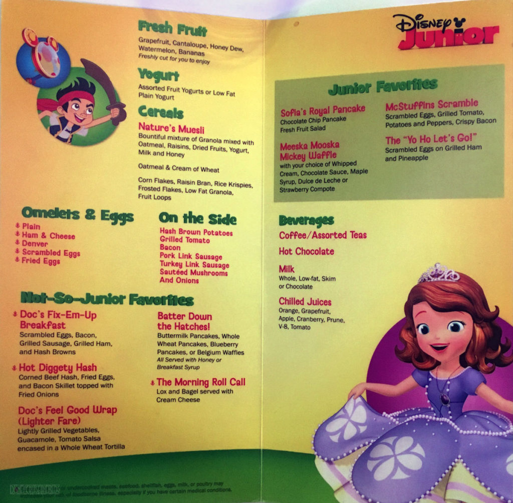 Disney Junior Character Breakfast Menu Wonder December 2016