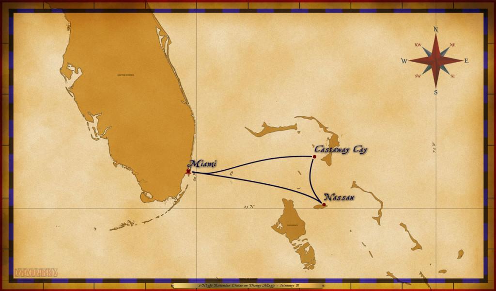 Map Magic 3 Night Bahamian Cruise Itinerary B Miami