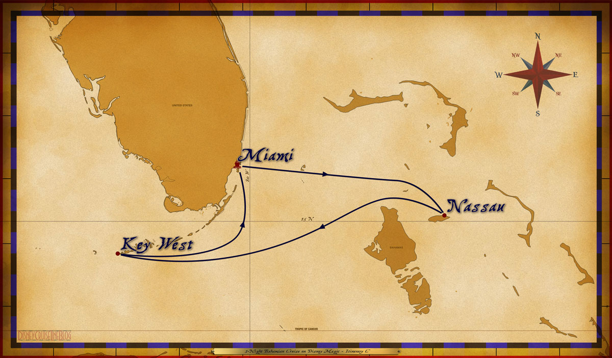 Map Magic 3 Night Bahamian Cruise On Disney Magic Itinerary C Miami
