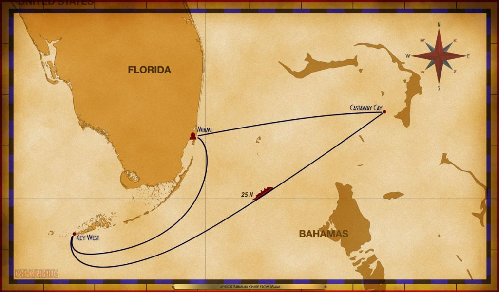Map Magic 4 Night Bahamian Cruise On Disney Magic Itinerary I Miami