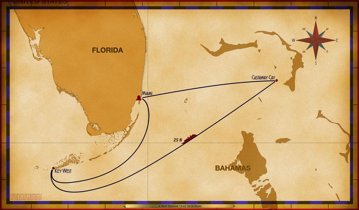 Map Magic 4 Night Bahamian Cruise On Disney Magic Itinerary I Miami
