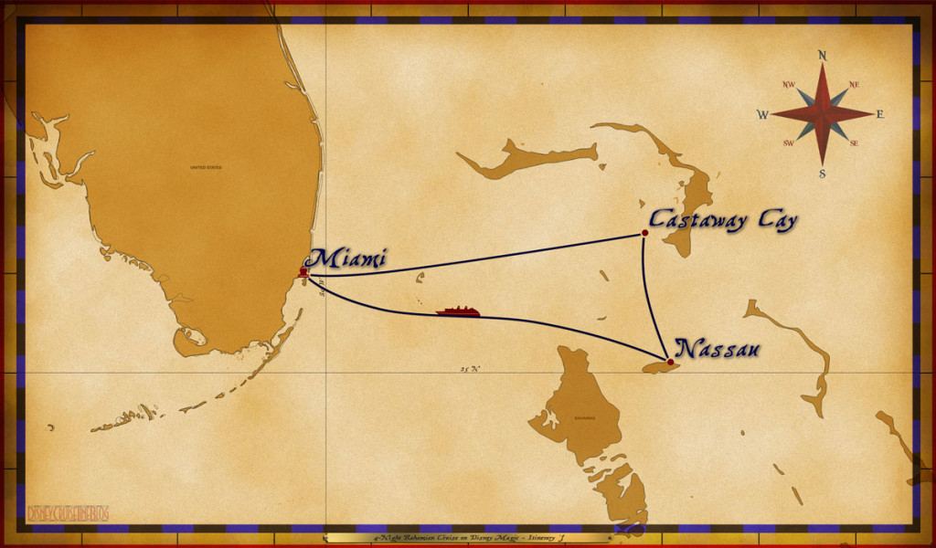 Map Magic 4 Night Bahamian Cruise On Disney Magic Itinerary J Miami