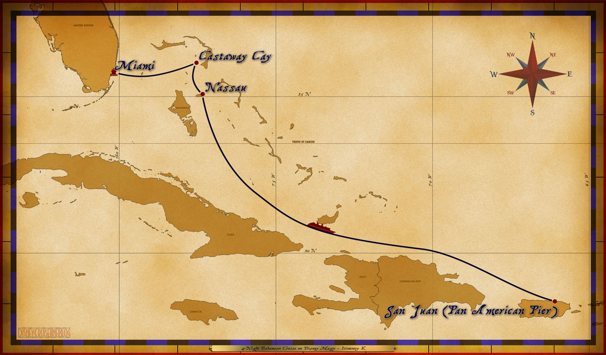 Map Magic 4 Night Bahamian Cruise On Disney Magic Itinerary K Miami