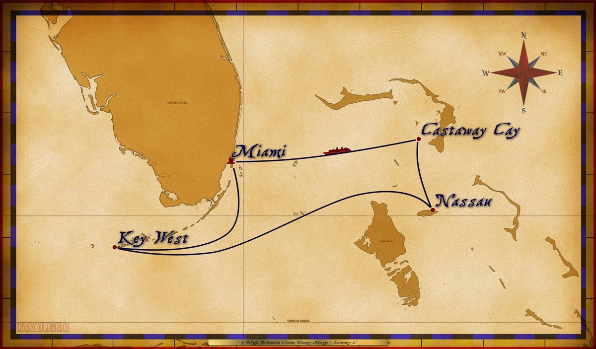 Map Magic 5 Night Bahamian Cruise On Disney Magic Itinerary B Miami