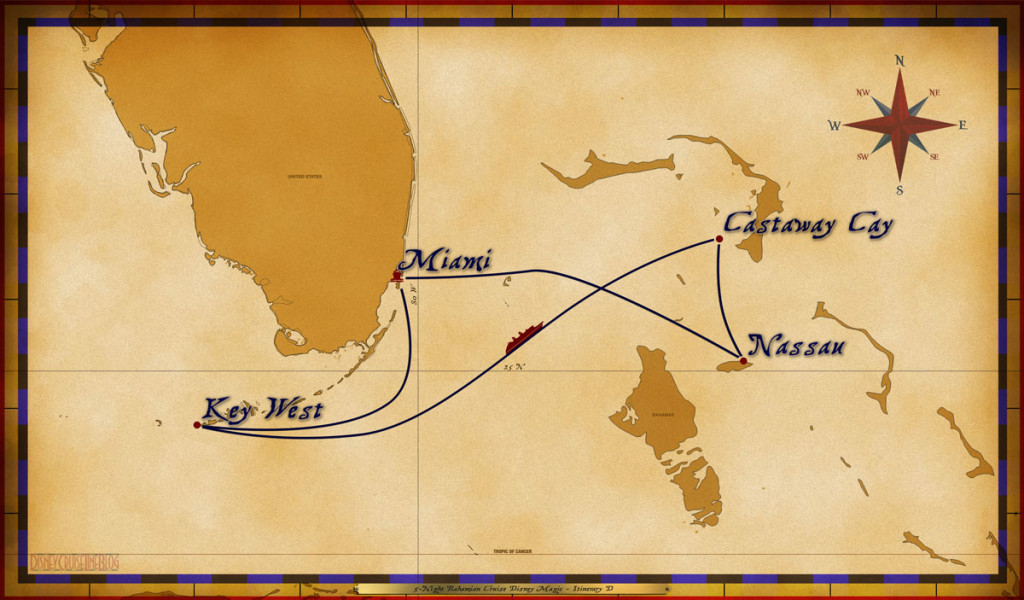 Map Magic 5 Night Bahamian Cruise On Disney Magic Itinerary D Miami