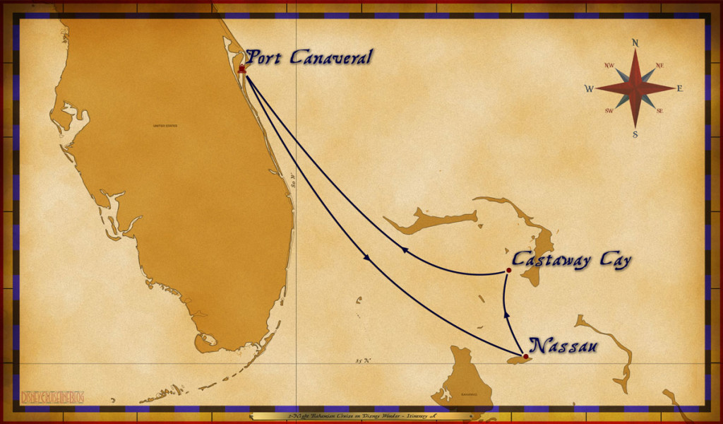 Map Wonder 3 Night Bahamian Cruise Itinerary A Port Canaveral