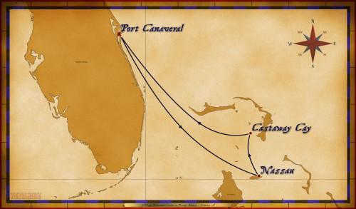 Map Wonder 3 Night Bahamian Cruise Itinerary A Port Canaveral
