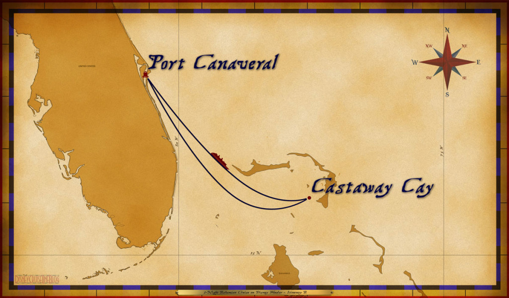 Map Wonder 3 Night Bahamian Cruise Itinerary B Port Canaveral