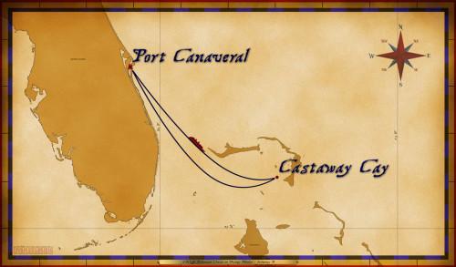 Map Wonder 3 Night Bahamian Cruise Itinerary B Port Canaveral