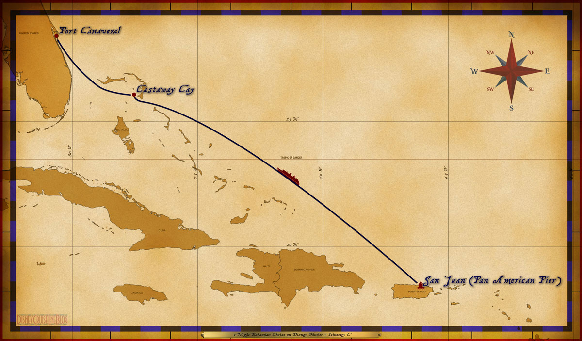 Map Wonder 3 Night Bahamian Cruise Itinerary C San Juan