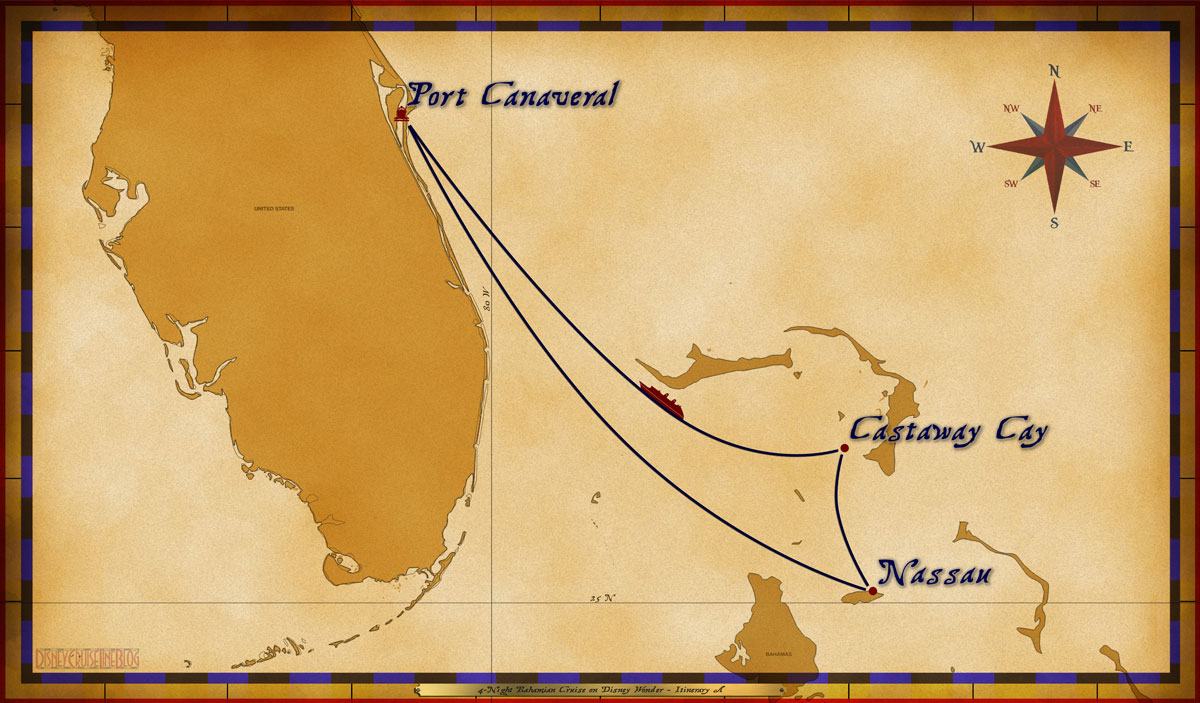 Map Wonder 4 Night Bahamian Cruise Itinerary A Port Canaveral