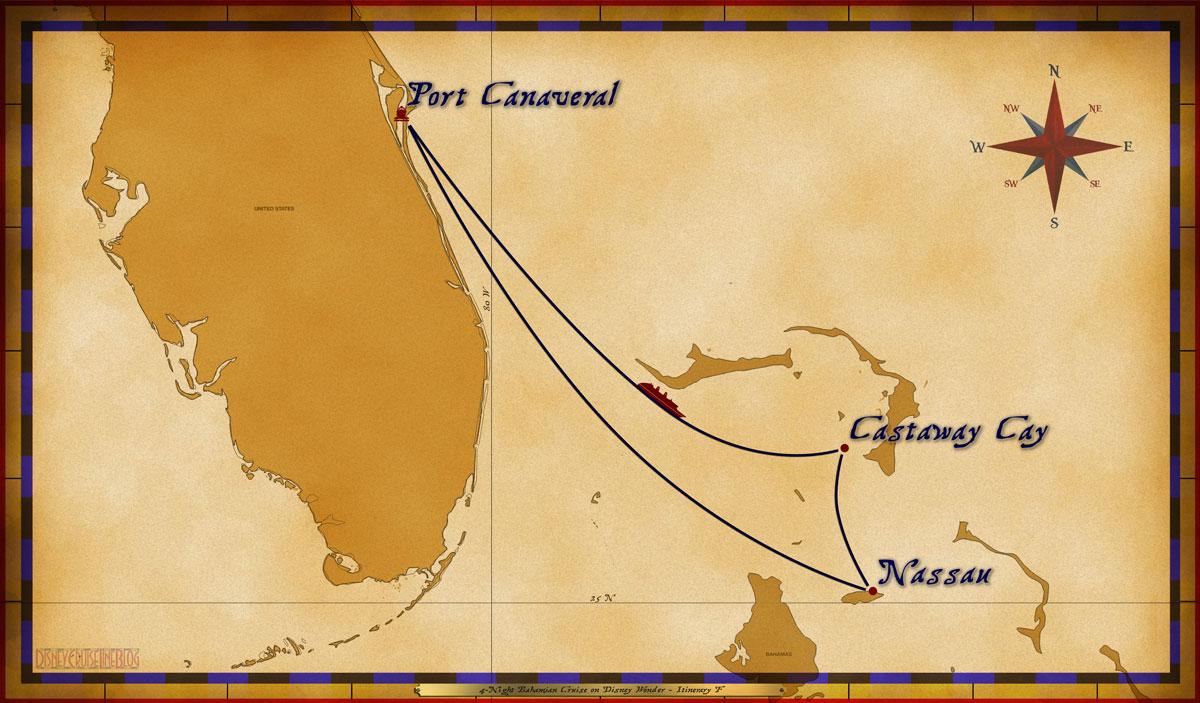 Map Wonder 4 Night Bahamian Cruise Itinerary F Port Canaveral