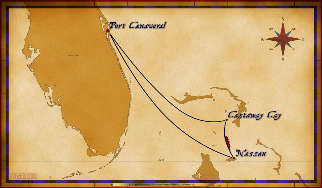Map Wonder 4 Night Bahamian Cruise Itinerary G Port Canaveral