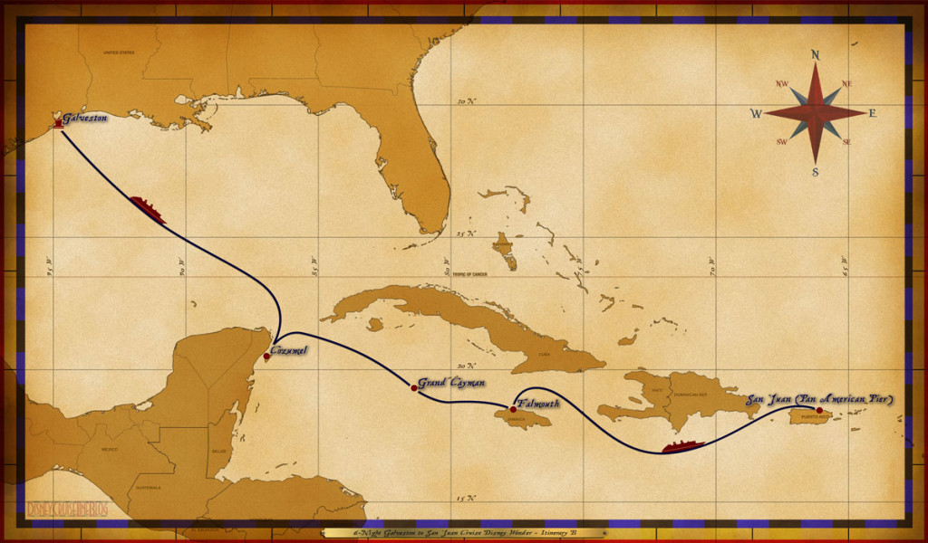 Map Wonder 6 Night Galveston To San Juan Cruise Itinerary B