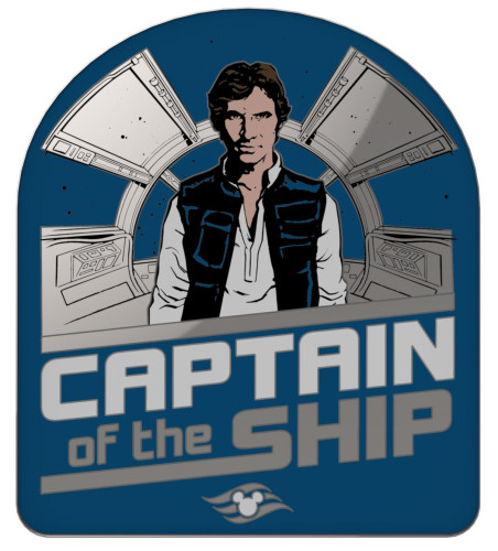 SWDAS Item 21 Han Solo Captain Of This Ship Pin