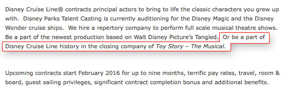 DCL Audition Notice Toy Story Closing November 2015