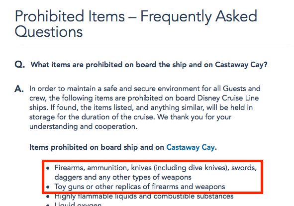 DCL Prohibited Items List 20121217 Toy Guns