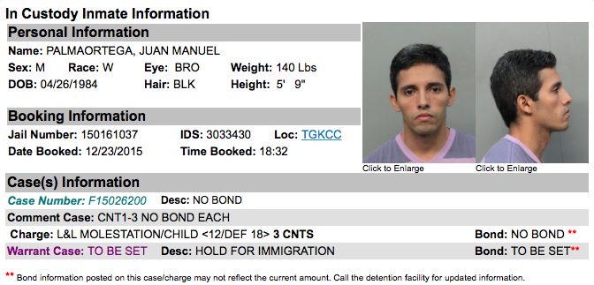 Juan Manuel Ortega Palma Miami Dade Inmate Record