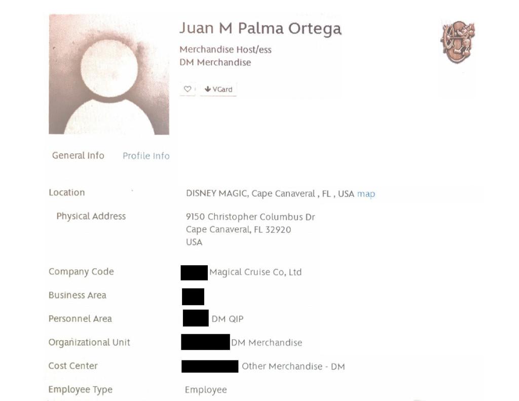 Juan Palma Ortega Disney Cast Member Details