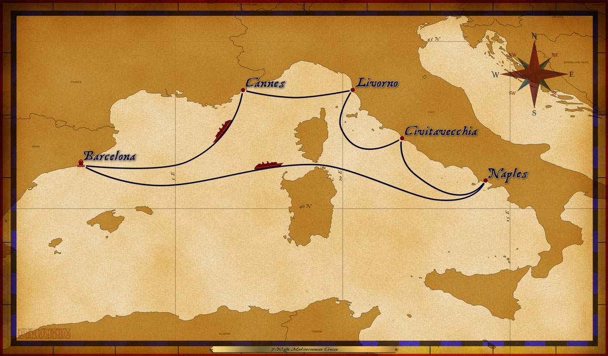 Map Magic 7 Night Mediterranean Cruise Itinerary C Revised