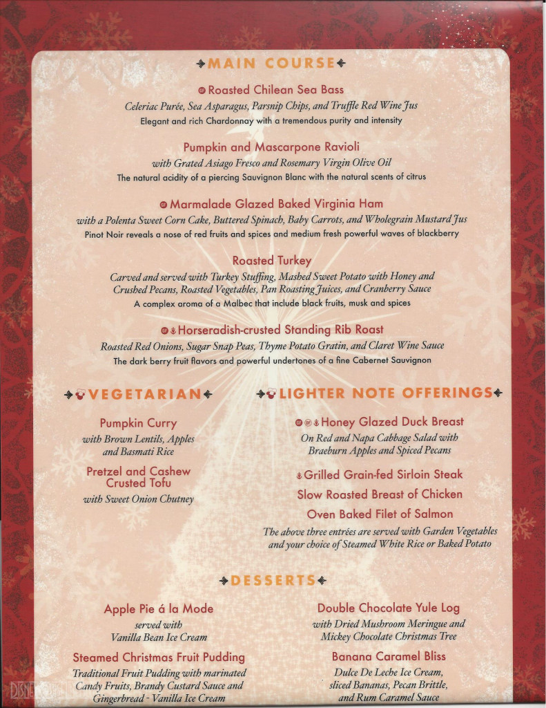 DCL Christmas Dinner Menu B Magic 2015