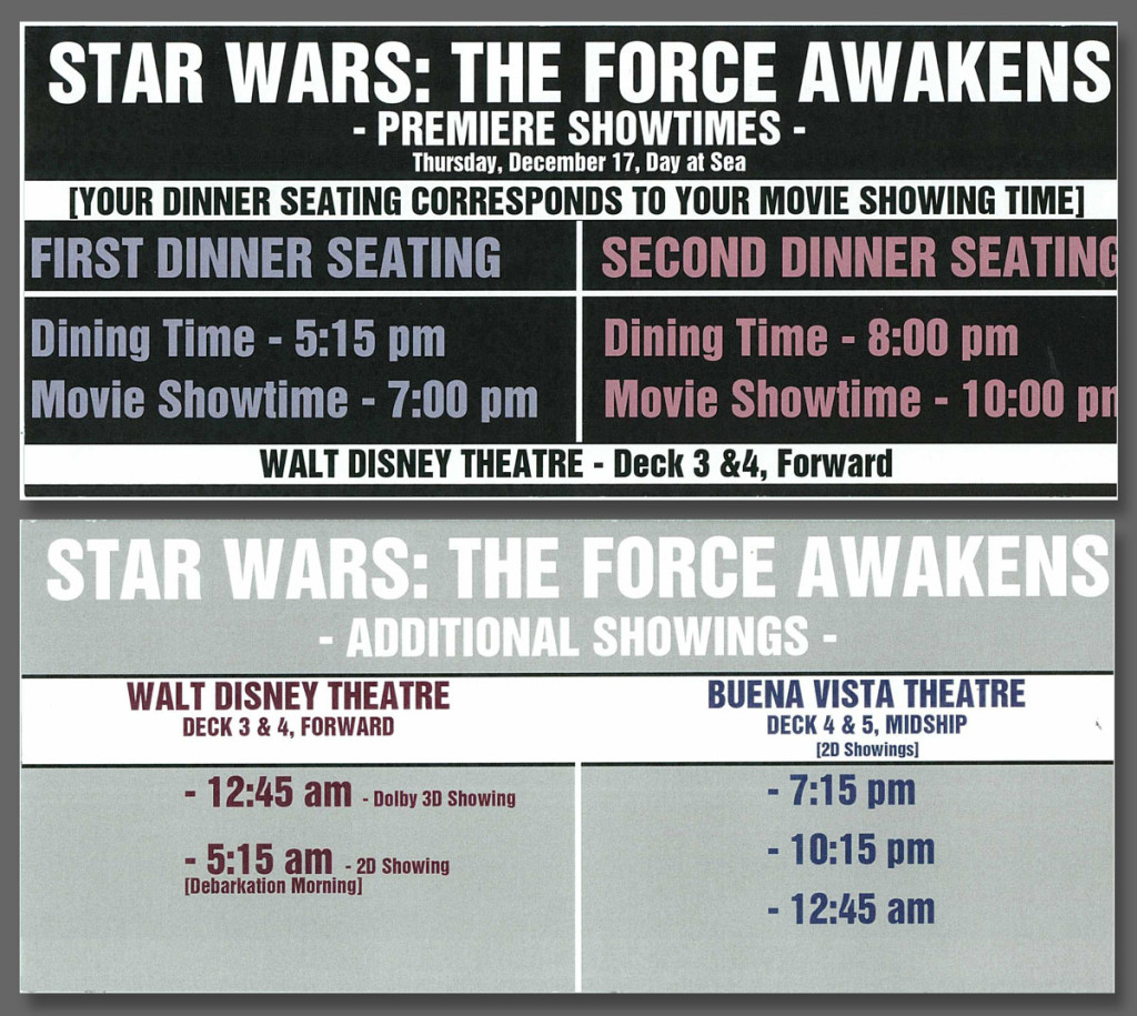 DCL Force Awakens PremEAR Showtimes Disney Dream