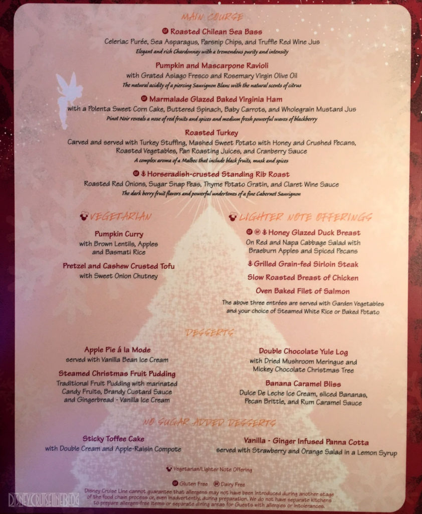 DCL Happy Holidays Christmas Dinner Menu B Wonder 2016