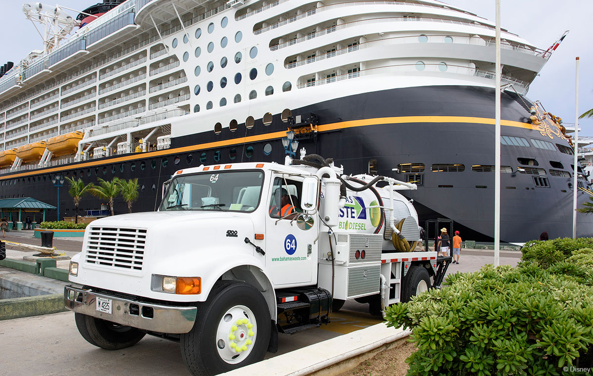 Disney Cruise Line Donates Used Cooking Oil Bahamas Waste Managment Truck