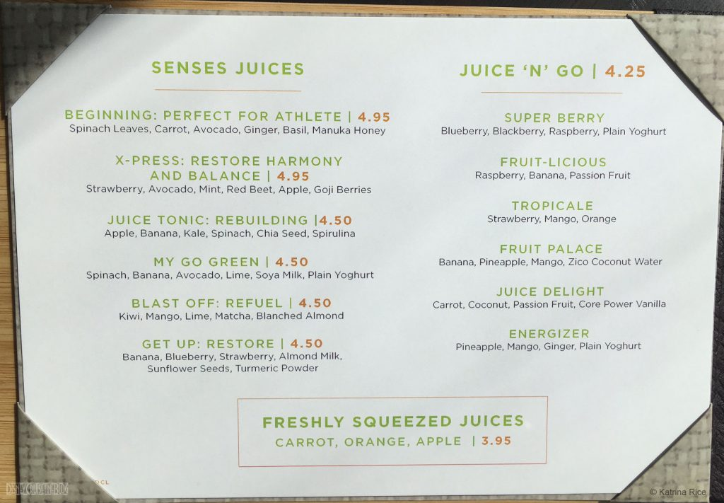 Fantasy Senses Juice Bar Menu May 2017 KRice