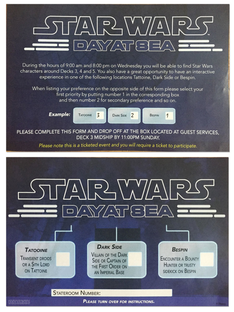 Star Wars Day At Sea Meet Greet Preference Sheet