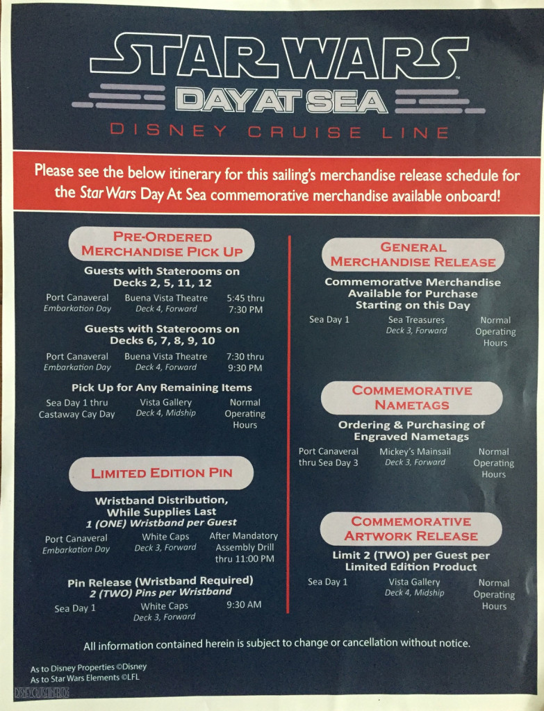 Star Wars Day At Sea Merchandise Release Schedule 2016