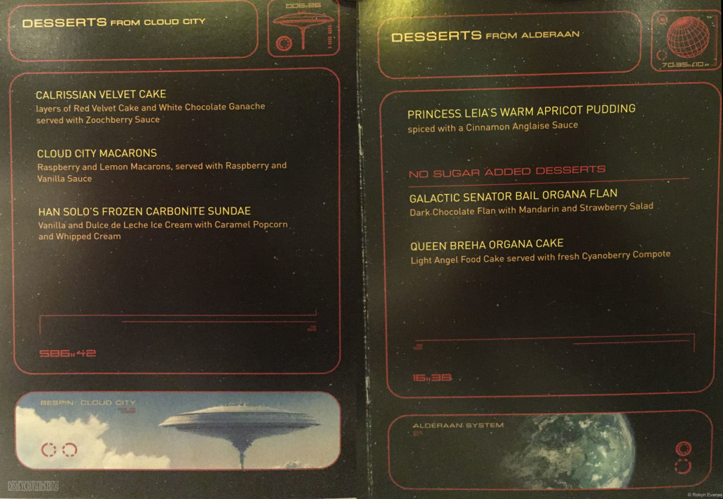 Star Wars Menu Dessert