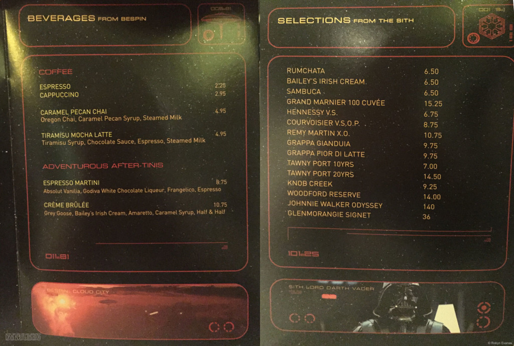 Star Wars Menu Dessert Drinks