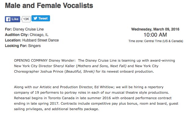 DCL Casting Notice Frozen Wonder