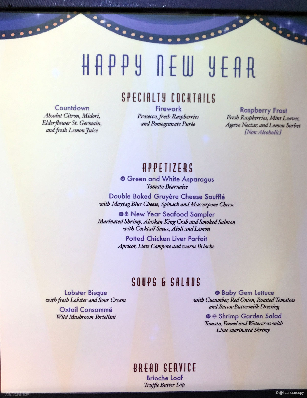 dcl happy new year dinner menu a fantasy 2015
