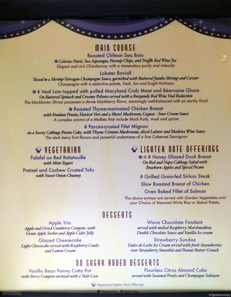 DCL Happy New Year Dinner Menu B Fantasy 2015