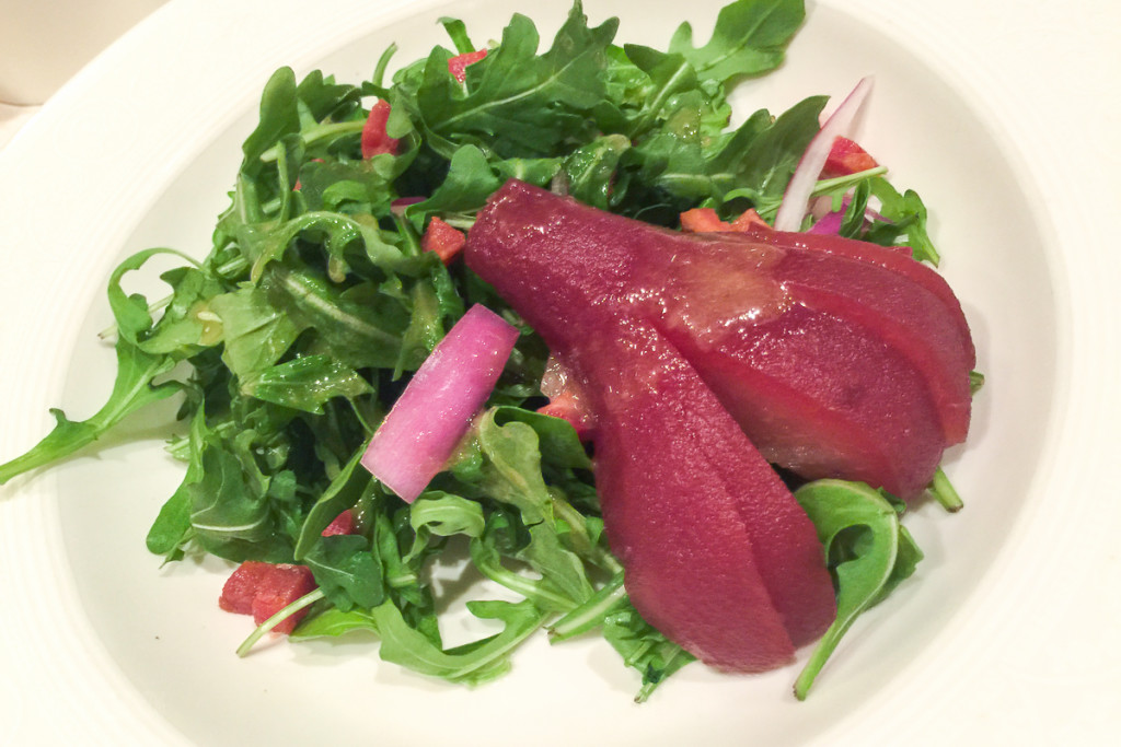 Lumiere's Red Wine Bosc Pear Salad