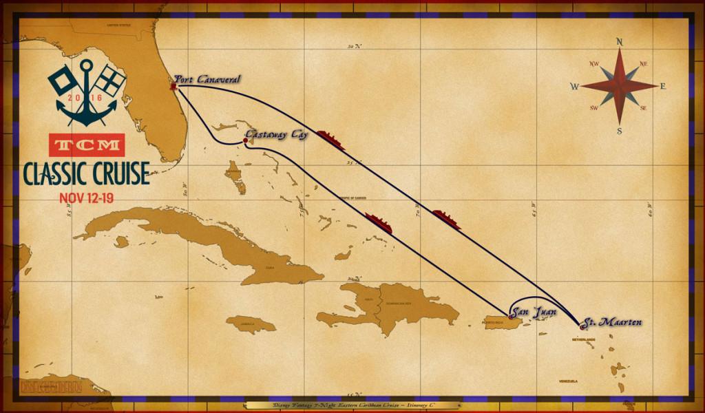 Map Fantasy 7 Night Eastern Caribbean TCM Classic Cruise 2016