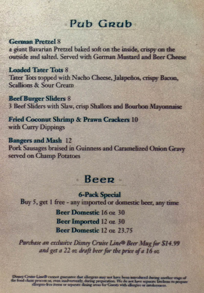 O'Gills Pub Grub Menu Disney Magic February 2016