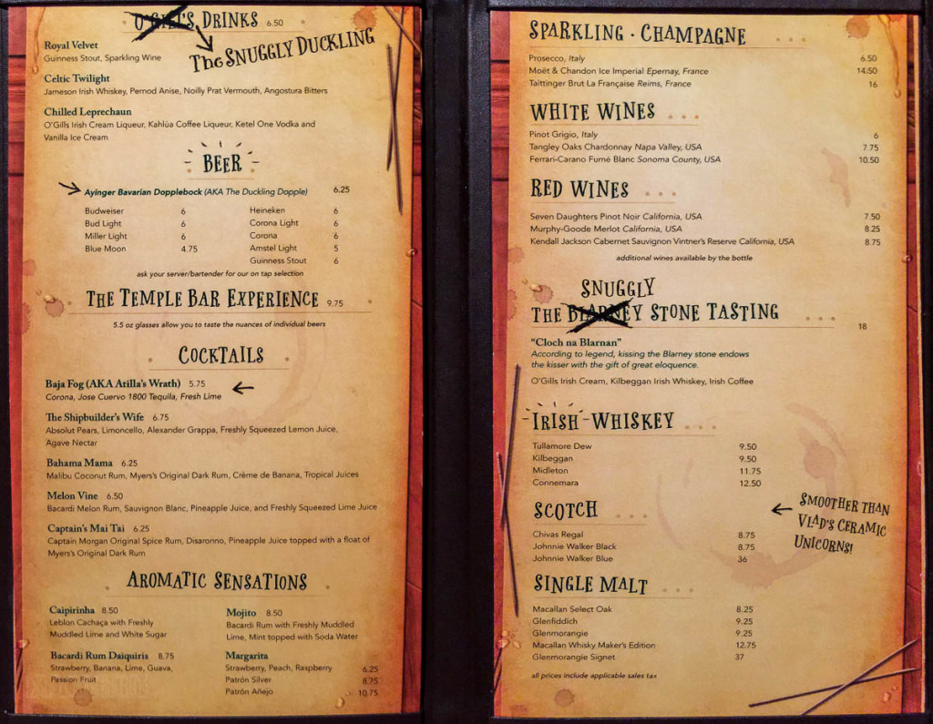 The Snuggly Duckling Not O'Gills Menu Disney Magic