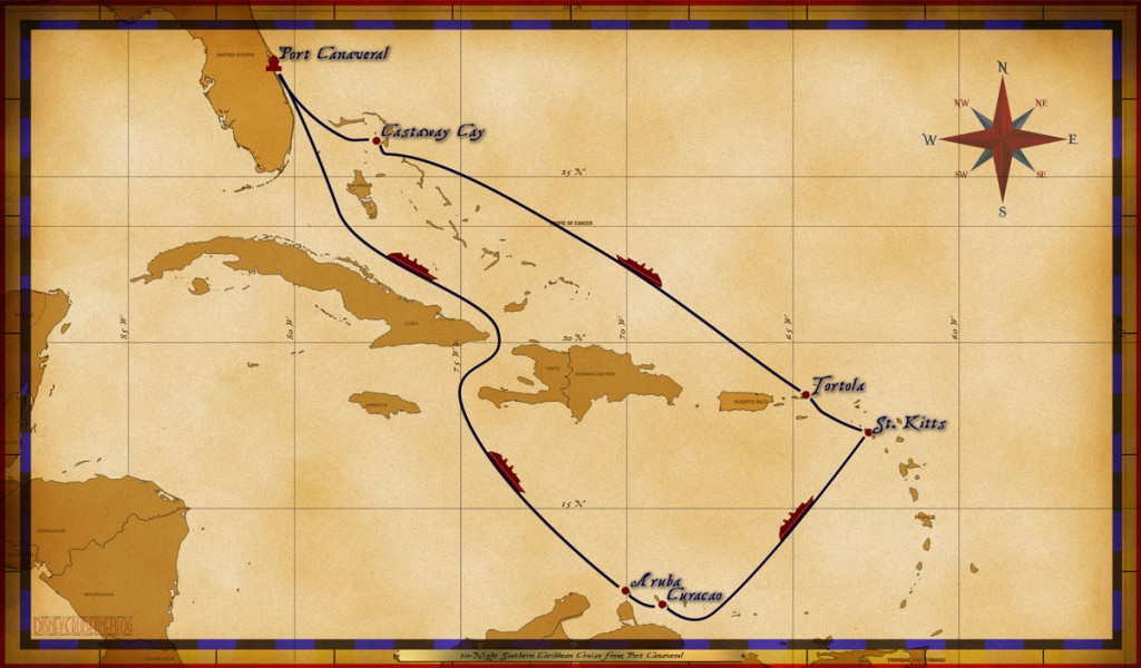 Map Fantasy 10 Night Southern Caribbean Itinerary