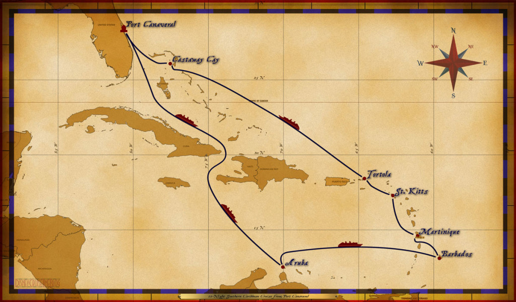 Map Fantasy 11 Night Southern Caribbean Itinerary