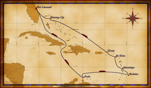Map Fantasy 11 Night Southern Caribbean Itinerary