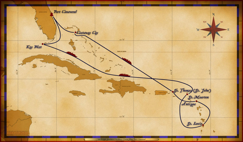 Map Magic 10 Night Southern Caribbean Cruise
