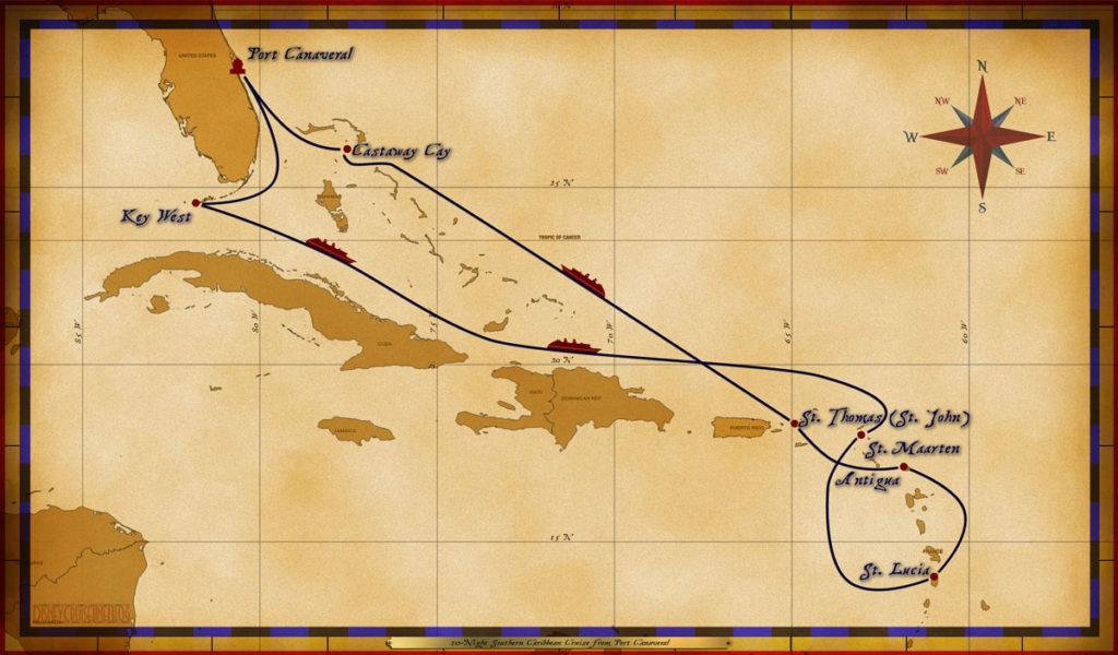 Map Magic 10 Night Southern Caribbean Cruise